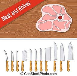 linea, taglio, manico, bistecca, legno, set, bianco, coltelli, carne, style., fondo.
