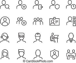 linea, utenti, icone