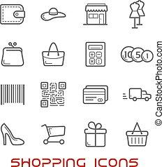 linea, vendita dettaglio fa spese, magro, icone