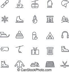 linea, vettore, attività, pack., inverno, set., icone