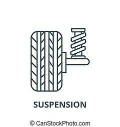 linea, vettore, auto, concetto, icona, segno, automobile, contorno, lineare, simbolo, sospensione