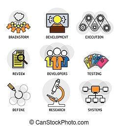 linea, vettore, disegno, di, software, industria, processo,...