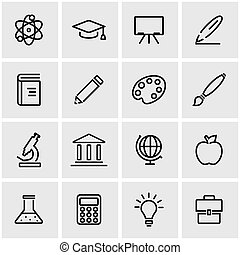 linea, vettore, educazione, set, icona