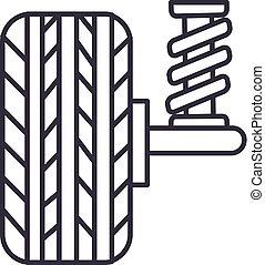 linea, vettore, fondo, auto, icona, segno, automobile, editable, sospensione, colpi, illustrazione