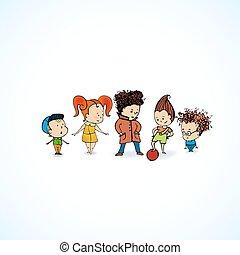 linea, vettore, gruppo, bambini, illustrazione