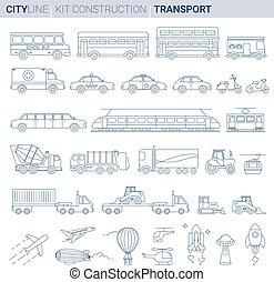 linea, vettore, illustrazione, set., città, veicoli