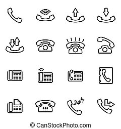 linea, vettore, set, telefono, icona