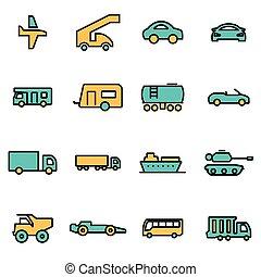 linea, vettore, set, veicoli