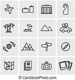 linea, vettore, set, viaggiare, icona