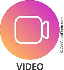 lineair, helling, media, video, sociaal, cirkel, pictogram
