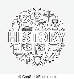 lineair, illustratie, geschiedenis