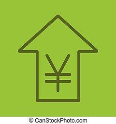 lineair, koers, yen, pictogram, kleur, opstand