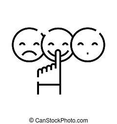 lineair, meldingsbord, schets, evaluatie, lijn, pictogram, emotioneel, illustratie, symbool., vector, concept
