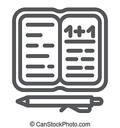 lineair, school, meldingsbord, model, notitieboekje papier, ...