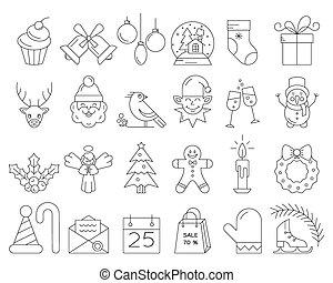 lineal, colección, de, navidad, iconos