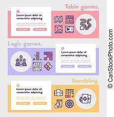 lineal, color, tabla, vector, icono, juegos, conjunto, ...