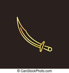 lineal, elemento, vector, cimitarra, otomano, logotipo, icono, o, coloreado