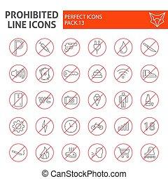 lineal, paquete, conjunto, prohibido, colección, línea, aislado, dibujos, símbolos, fondo., vector, prohibido, delgado, pictograms, señales, logotipo, blanco, advertencia, ilustraciones, icono