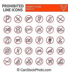 lineal, paquete, conjunto, prohibido, colección, línea, aislado, dibujos, símbolos, fondo., vector, prohibido, pictograms, señales, logotipo, blanco, advertencia, ilustraciones, icono