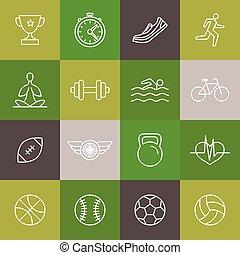 linear, ícones, condicão física, vetorial, sinais, desporto
