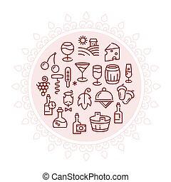linear, ícones, vetorial, desenho, logotipo, círculo, vinho