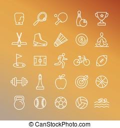 linear, ícones, vetorial, desporto