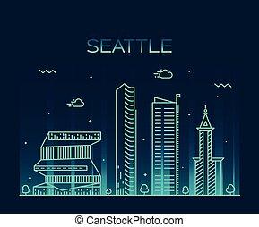 linear, abbildung, skyline, vektor, poppig, seattle