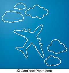linear airplane with clouds on a blue air background. Blue sky t