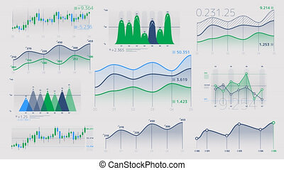 Linear and candlestick charts with neutral data - A set of...