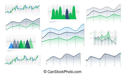 A set of animated color line and candlestick graphs without numbers and data on the white background.