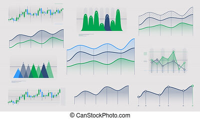 Linear and candlestick charts without data - A set of...