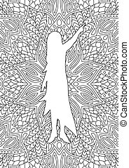 Linear art for coloring book with girl silhouette
