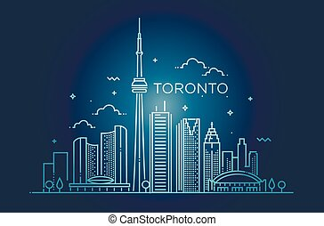 Linear banner of Toronto. Line art.