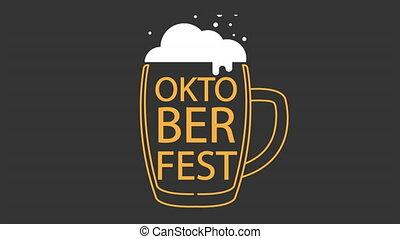 Linear beer mug with foam for oktoberfest, art video illustration.