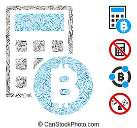 Linear Bitcoin Calculator Icon Vector Mosaic - Hatch collage...
