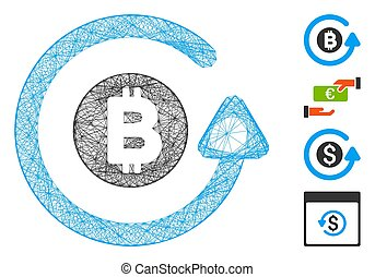 Vector network Bitcoin chargeback. Geometric linear carcass flat network made from Bitcoin chargeback icon, designed from crossing lines. Some bonus icons are added.
