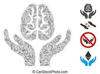 Linear Brain Care Hands Icon Vector Collage