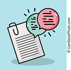 linear business documents with chat bubble message