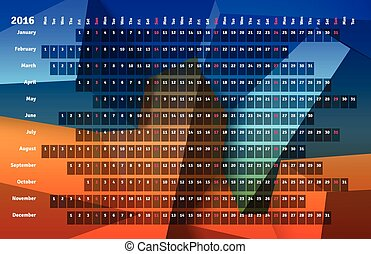 Linear calendar 2016