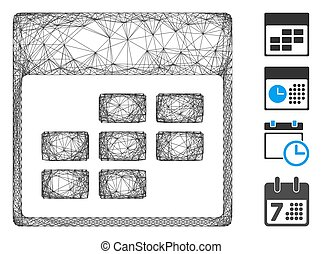 Vector wire frame calendar month grid. Geometric wire frame flat network made from calendar month grid icon, designed from crossing lines. Some bonus icons are added.