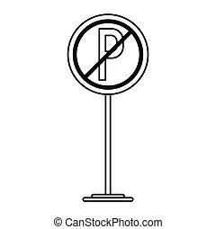 linear, car, sinal, proibido, estacionamento, tráfego