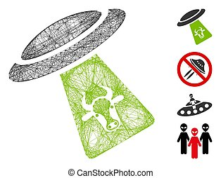Vector net cattle UFO abduction. Geometric hatched frame 2D net generated with cattle UFO abduction icon, designed with crossed lines. Some bonus icons are added.