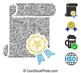 Linear Certificate Icon Vector Collage - Linear collage ...