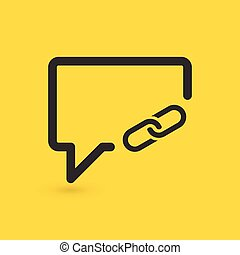 Linear chat bubble with share link icon. web button on yellow background. vector illustration.