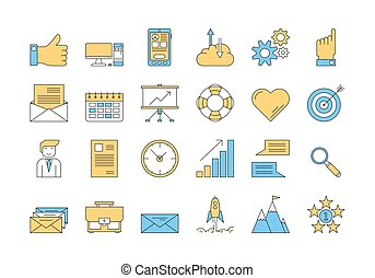 Linear COLOR icon set 1 - BUSINESS