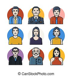 Linear color icons set of avatar