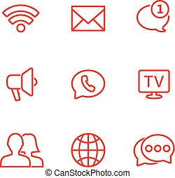 Linear communication icons set. Universal communication icon to use in web and mobile