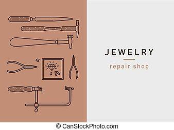 Linear creative logo, repair shop jewelry