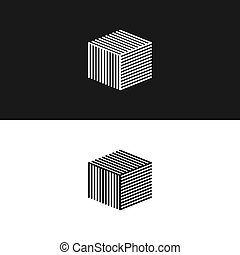 Maze cube template  Cube with maze, template of a cubic