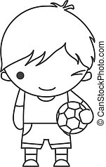 Linear Cute cartoon winking little boy with a soccer ball in his hands